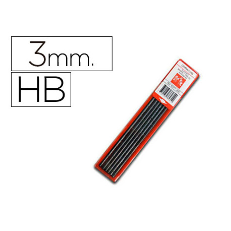 Mina caran dache grafito hb 3 mm longitud 12 cm estuche de 6 minas