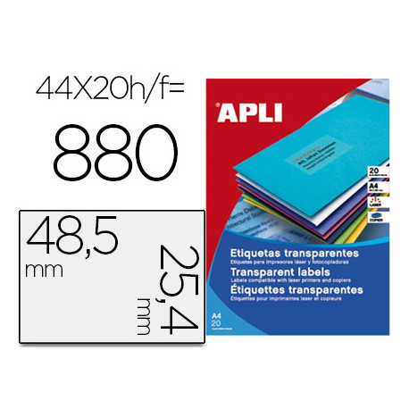 Etiqueta adhesiva apli transparente 485x254 mm fotocopia laser inkjet caj