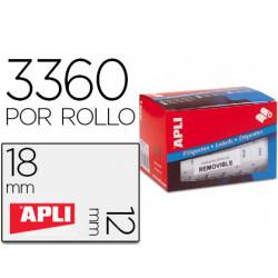 Etiqueta adhesiva apli 10084 tamaño 12x18 mm removible pvp euro rollo de 33