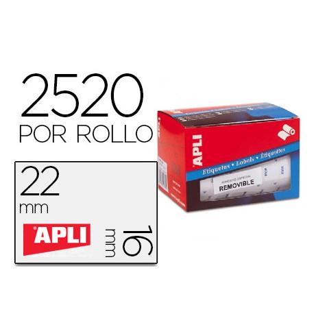 Etiqueta adhesiva apli 10087 tamaño 16x22 mm removible pvp euro rollo de 25