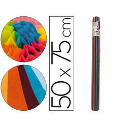 Papel seda liderpapel 12 colores surtidos 17g/m2 rollo de 24 hojas 50x75cm