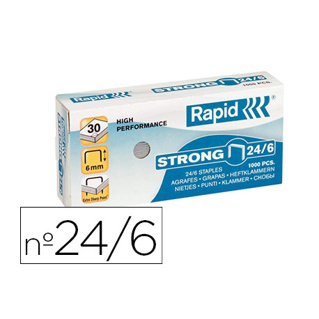Grapas rapid n 24/6 galvanizadas strong caja de 1000 grapas
