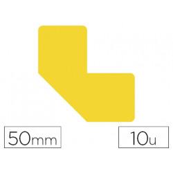 Simbolo adhesivo tarifold pvc forma l para delimitacion suelo 50 mm amarill