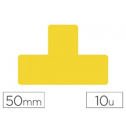 Simbolo adhesivo tarifold pvc forma t para delimitacion suelo 50 mm amarill