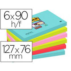 Bloc de notas adhesivas quita y pon postit super sticky 76x127 mm con 90 h