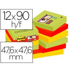 Bloc de notas adhesivas quita y pon postit super sticky 476x476 mm con 9