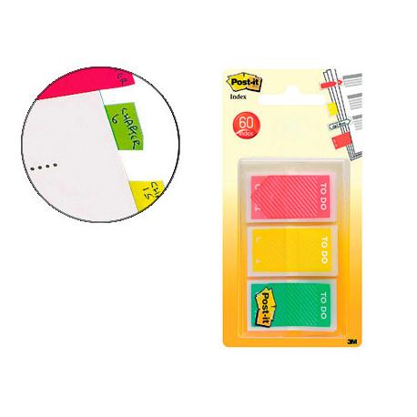 Banderitas separadoras rigidas postit index 682 amarillo rojo y verde disp
