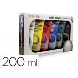 Pintura acrilica reeves 200 ml caja de 6 colores surtidos