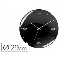 Reloj cep de pared oficina silencioso redondo 29 cm de diametro color negro