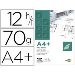 Papel dibujo liderpapel a4+ 320x240mm 70g/m2 vegetal sobre de 12 hojas