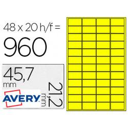 Etiqueta adhesiva avery poliester amarillo 457x212 mm laser pack de 960 e