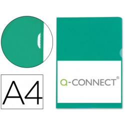 Carpeta dossier uñero plastico qconnect din a4 120 micras verde caja de 10