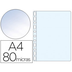 Funda multitaladro qconnect din a4 80 mc cristal bolsa de 100 unidades