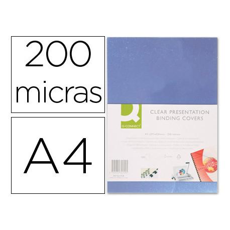 Tapa de encuadernacion qconnect pvc din a4 incolora 200 mc caja de 100 uni