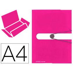 Carpeta con gomas herlitz tres solapas a4 polipropileno color fresca rosa