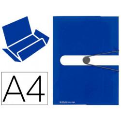 Carpeta con gomas herlitz tres solapas a4 polipropileno color azul intenso