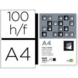Papel carbon liderpapel film negro tamaño din a4 caja de 100 hojas