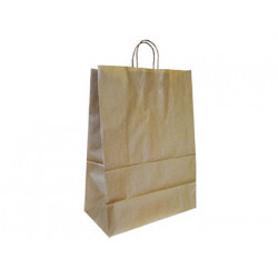 Bolsa kraft qconnect natural asa retorcida 240x100x310 mm