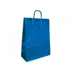 Bolsa kraft qconnect azul asa retorcida 420x190x480 mm