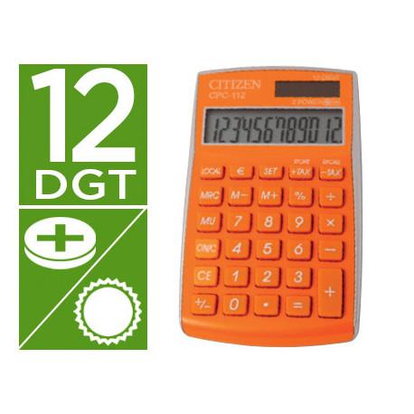 Calculadora citizen bolsillo cpc112orwb 12 digitos naranja serie wow