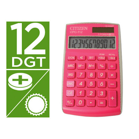 Calculadora citizen bolsillo cpc112pkwb 12 digitos fucsia serie wow
