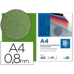 Tapa encuadernacion liderpapel polipropileno a4 08mm verde paquete de 50 u