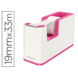 Portarrollo sobremesa leitz wow dual plastico para cinta de 33 m fucsia met