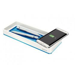 Organizador sobremesa leitz wow dual qi con carga inductiva azul metalizado