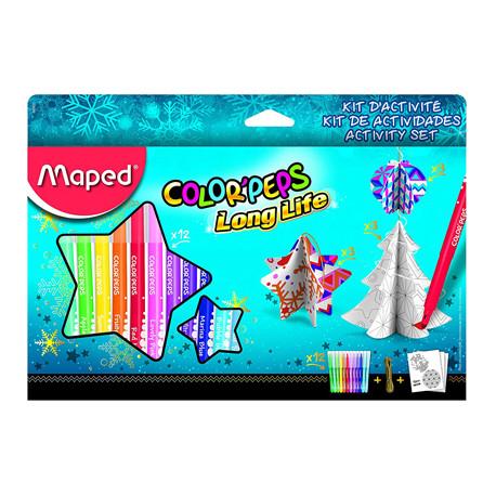 Kit de actividades maped navidad 12 rotuladores color peps + cordoncillo or