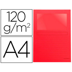 Subcarpeta cartulina qconnect din a4 roja con ventana transparente 120 gr