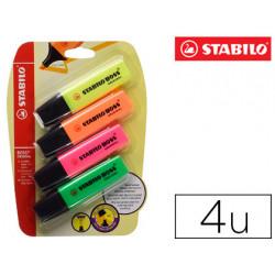 Rotulador stabilo boss fluorescente 70 blister 4 unidades colores surtidos