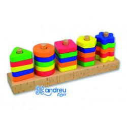 Juego andreutoys manipulacion 25 piezas geometricas + 12 plantillas doble c