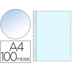 Funda multitaladro qconnect din a4 100 mc cristal bolsa de 10 unidades