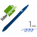Boligrafo liderpapel gummy touch retractil 10 mm tinta azul