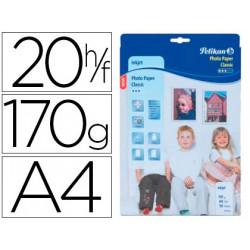 Papel pelikan din a4 fotografico inkjet estucado glossy 170g/m2 caja de 20