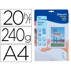 Papel pelikan din a4 fotografico inkjet estucado glossy 240g/m2 caja de 20