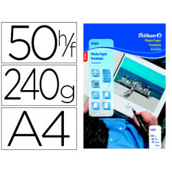 Papel pelikan din a4 fotografico inkjet glossy 240g/m2 caja de 50 hojas