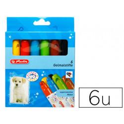 Lapices cera gel herlitz pretty pets caja de 6 colores surtidos