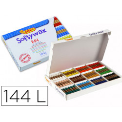 Lapices cera jovi softywax caja de 144 unidades 12 colores surtidos