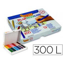Lapices cera jovi plasticolor caja de 300 unidades 25 colores surtidos