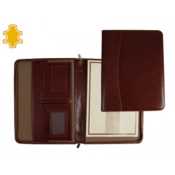 Carpeta portafolios artesania de piel tamaño din a4 color marron con cremal