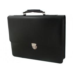 Cartera portafolios artesania simil piel color negro con broche 360x400x74