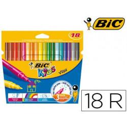 Rotulador bic kids visa estuche de 18 colores tinta base de agua lavable