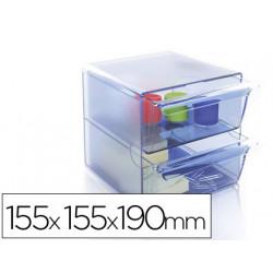 Archicubo archivo 2000 2 cajones organizador modular plastico azul transpar