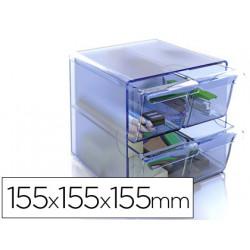 Archicubo archivo 2000 4 cajones organizador modular plastico azul transpar