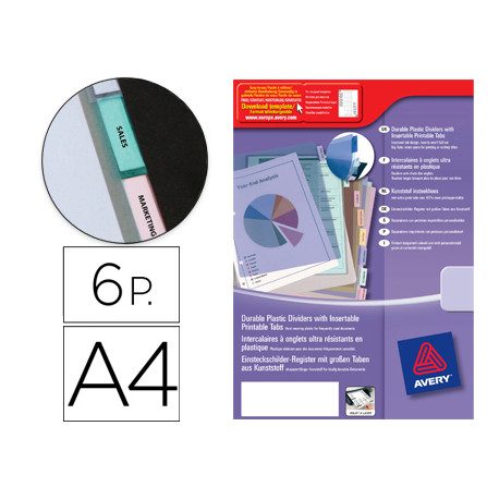Separador avery de plastico con 6 pestañas de indice personalizable tamaño
