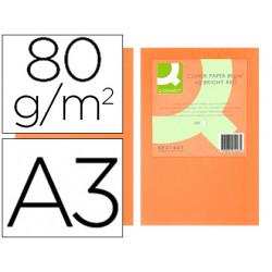 Papel color qconnect din a3 0gr naranja intenso paquete de 500 hojas
