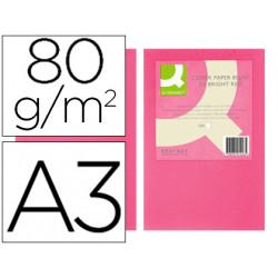 Papel color qconnect din a3 80gr rosa intenso paquete de 500 hojas