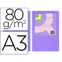 Papel color qconnect din a3 80gr lila paquete de 500 hojas