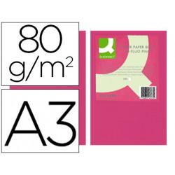 Papel color qconnect din a3 80gr rosa neon paquete de 500 hojas